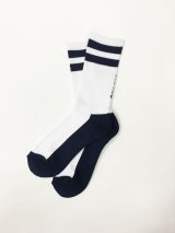 DUAL SOCKS (White/Navy) [Mens/Womens] [1,600+TAX]
